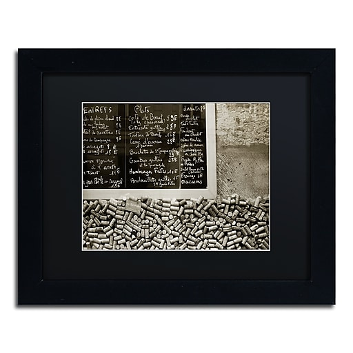 "Trademark Fine Art ''Parisian le Sac a Dos'' by Preston 11"" x 14"" Black Matted Black Frame (EM0560-B1114BMF)"