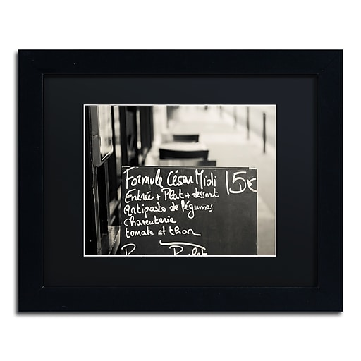 "Trademark Fine Art ''Parisian Menu'' by Preston 11"" x 14"" Black Matted Black Frame (EM0561-B1114BMF)"