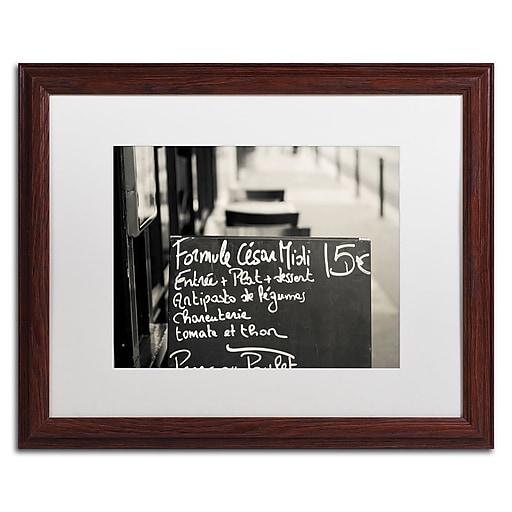 "Trademark Fine Art ''Parisian Menu'' by Preston 16"" x 20"" White Matted Wood Frame (EM0561-W1620MF)"