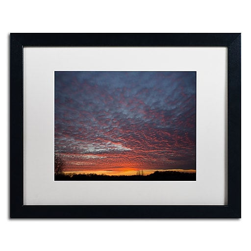 "Trademark Fine Art ''Amazing Winter Sunset'' by Kurt Shaffer 16"" x 20"" White Matted Black Frame (KS01063-B1620MF)"