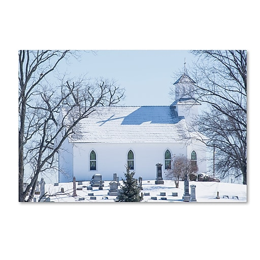 "Trademark Fine Art ''A Rural Chapel'' by Kurt Shaffer 30"" x 47"" Canvas Art (KS01090-C3047GG)"