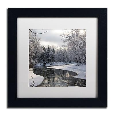 """Trademark Fine Art ''Fresh Snowfall on the River'' by Kurt Shaffer 11"""" x 11"""" White Matted Black Frame (KS01094-B1111MF)"""