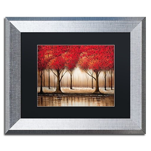 "Trademark Fine Art ''Parade of Red Trees'' by Rio 11"" x 14"" Black Matted Silver Frame (MA0301-S1114BMF)"