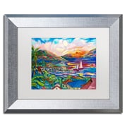 """Trademark Fine Art ''Sunset'' by Manor Shadian 11"""" x 14"""" White Matted Silver Frame (MA0397-S1114MF)"""