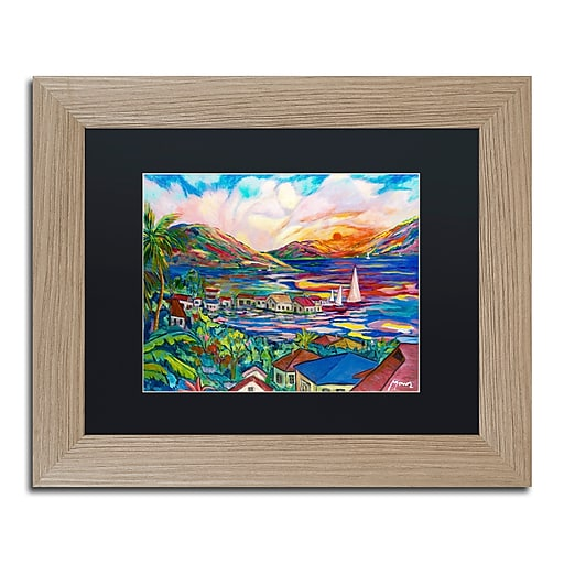 """Trademark Fine Art ''Sunset'' by Manor Shadian 11"""" x 14"""" Black Matted Wood Frame (MA0397-T1114BMF)"""