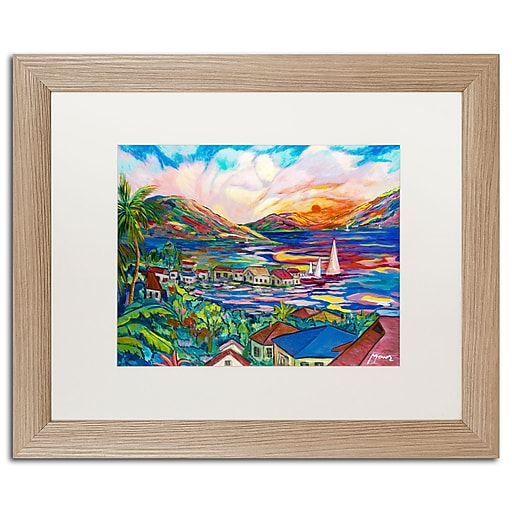 "Trademark Fine Art ''Sunset'' by Manor Shadian 16"" x 20"" White Matted Wood Frame (MA0397-T1620MF)"