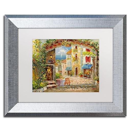 """Trademark Fine Art ''Capri Isle'' by Rio 11"""" x 14"""" White Matted Silver Frame (MA0421-S1114MF)"""