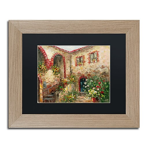 "Trademark Fine Art ''Tuscany Courtyard'' by Rio 11"" x 14"" Black Matted Wood Frame (MA0431-T1114BMF)"