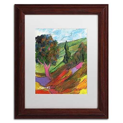 "Trademark Fine Art ''Untouched Hillside'' by Manor Shadian 11"" x 14"" White Matted Wood Frame (MA0610-W1114MF)"