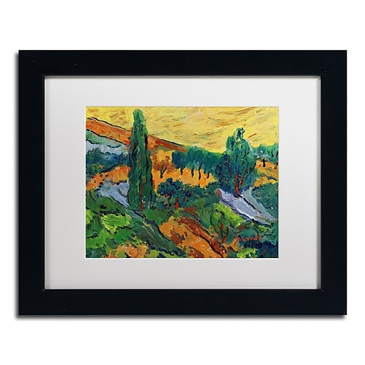 """Trademark Fine Art ''Sunset Ends a Summer Day'' by Manor Shadian 11"""" x 14"""" White Matted Black Frame (MA0613-B1114MF)"""