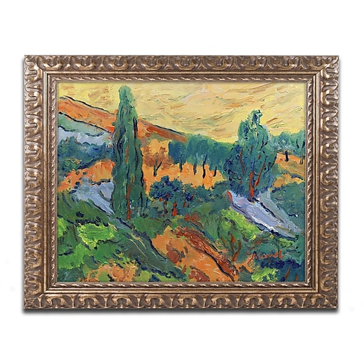 """Trademark Fine Art ''Sunset Ends a Summer Day'' by Manor Shadian 11"""" x 14"""" Ornate Frame (MA0613-G1114F)"""
