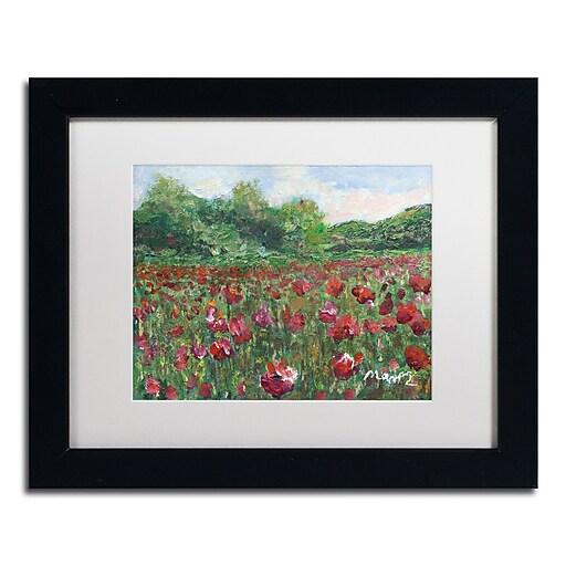 "Trademark Fine Art ''Poppy Field Wood'' by Manor Shadian 11"" x 14"" White Matted Black Frame (MA0620-B1114MF)"