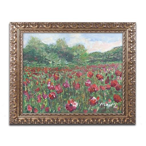"Trademark Fine Art ''Poppy Field Wood'' by Manor Shadian 11"" x 14"" Ornate Frame (MA0620-G1114F)"
