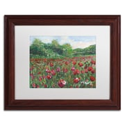 "Trademark Fine Art ''Poppy Field Wood'' by Manor Shadian 11"" x 14"" White Matted Wood Frame (MA0620-W1114MF)"