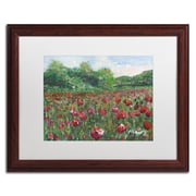 "Trademark Fine Art ''Poppy Field Wood'' by Manor Shadian 16"" x 20"" White Matted Wood Frame (MA0620-W1620MF)"