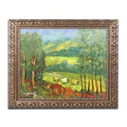 """Trademark Fine Art ''Balds in the Field'' by Manor Shadian 11"""" x 14"""" Ornate Frame (MA0622-G1114F)"""