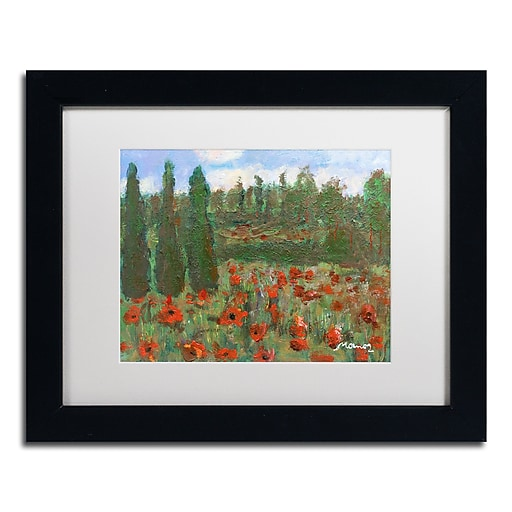 "Trademark Fine Art ''Red Poppies in the Wood'' by Manor Shadian 11"" x 14"" White Matted Black Frame (MA0624-B1114MF)"