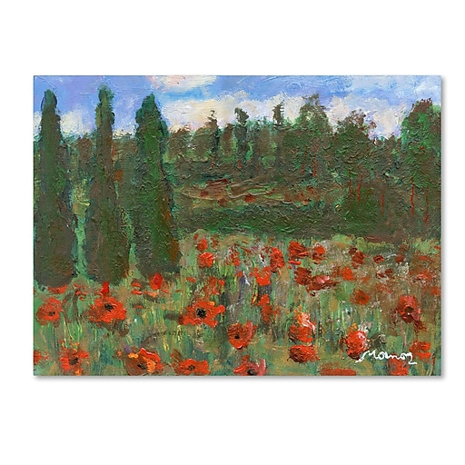 """Trademark Fine Art ''Red Poppies in the Wood'' by Manor Shadian 14"""" x 19"""" Canvas Art (MA0624-C1419GG)"""