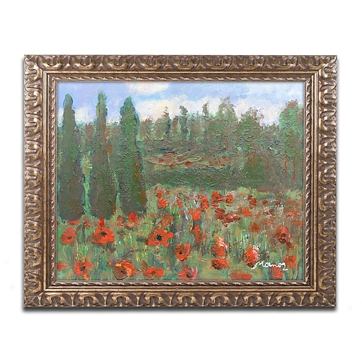 "Trademark Fine Art ''Red Poppies in the Wood'' by Manor Shadian 11"" x 14"" Ornate Frame (MA0624-G1114F)"