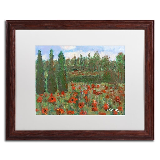 """Trademark Fine Art ''Red Poppies in the Wood'' by Manor Shadian 16"""" x 20"""" White Matted Wood Frame (MA0624-W1620MF)"""