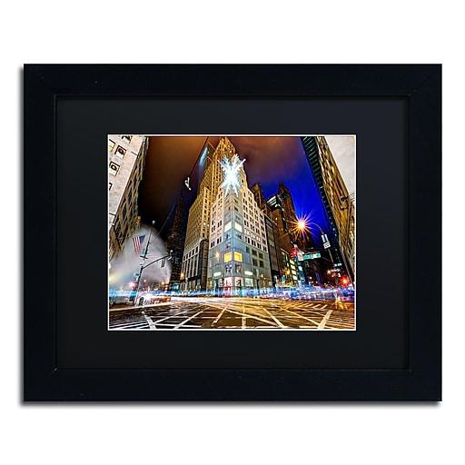 "Trademark Fine Art ''Christmas in New York'' by David Ayash 11"" x 14"" Black Matted Black Frame (MA0630-B1114BMF)"