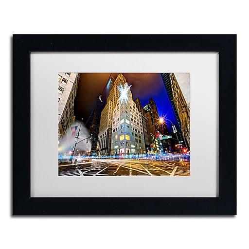 "Trademark Fine Art ''Christmas in New York'' by David Ayash 11"" x 14"" White Matted Black Frame (MA0630-B1114MF)"