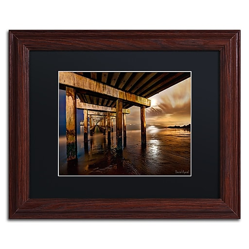 "Trademark Fine Art ''Coney Island Pier by Moonlight'' by David Ayash 11"" x 14"" Black Matted Wood Frame (MA0631-W1114BMF)"