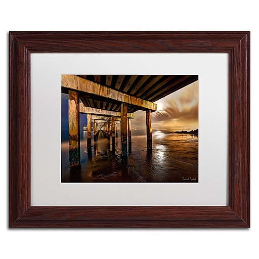 """Trademark Fine Art ''Coney Island Pier by Moonlight'' by David Ayash 11"""" x 14"""" White Matted Wood Frame (MA0631-W1114MF)"""