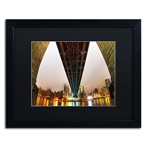 "Trademark Fine Art ''Under the Qeensboro Bridge'' by David Ayash 16"" x 20"" Black Matted Black Frame (MA0633-B1620BMF)"