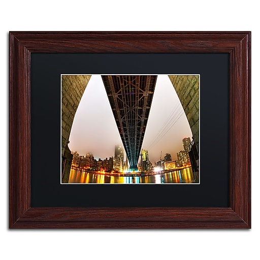"Trademark Fine Art ''Under the Qeensboro Bridge'' by David Ayash 11"" x 14"" Black Matted Wood Frame (MA0633-W1114BMF)"