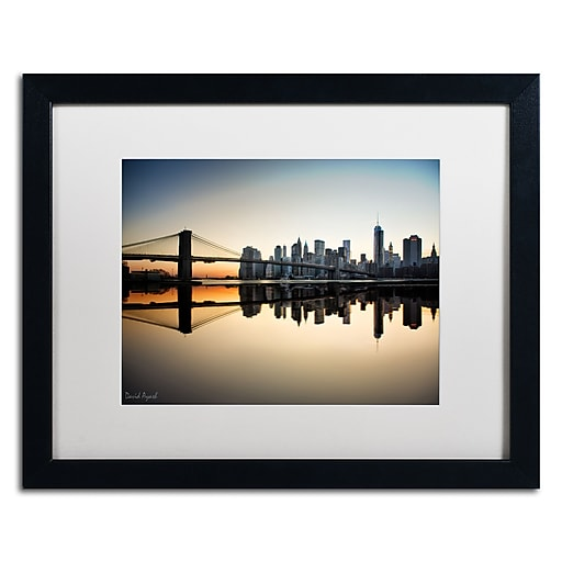 "Trademark Fine Art ''Downtown NY'' by David Ayash 16"" x 20"" White Matted Black Frame (MA0636-B1620MF)"