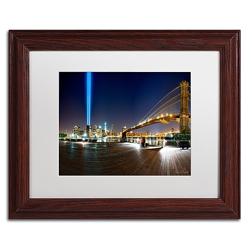 """Trademark Fine Art ''Never Forget'' by David Ayash 11"""" x 14"""" White Matted Wood Frame (MA0639-W1114MF)"""