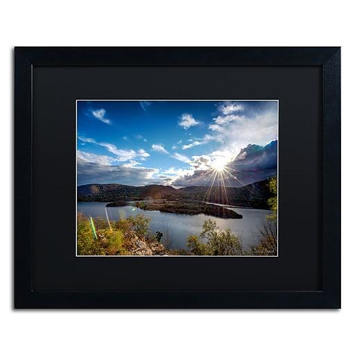 "Trademark Fine Art ''Sunset Over the Hudson'' by David Ayash 16"" x 20"" Black Matted Black Frame (MA0642-B1620BMF)"