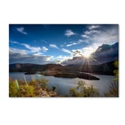 """Trademark Fine Art ''Sunset Over the Hudson'' by David Ayash 30"""" x 47"""" Canvas Art (MA0642-C3047GG)"""