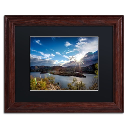 "Trademark Fine Art ''Sunset Over the Hudson'' by David Ayash 11"" x 14"" Black Matted Wood Frame (MA0642-W1114BMF)"