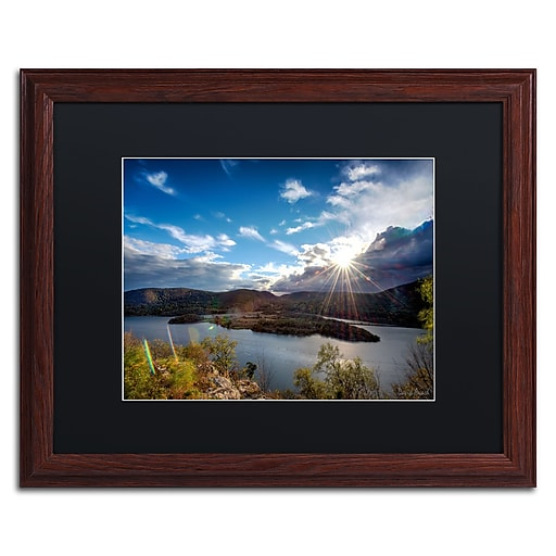 "Trademark Fine Art ''Sunset Over the Hudson'' by David Ayash 16"" x 20"" Black Matted Wood Frame (MA0642-W1620BMF)"