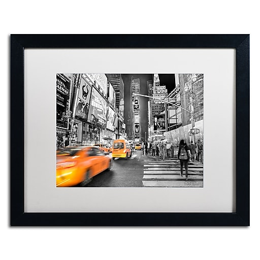 "Trademark Fine Art ''Times Square'' by David Ayash 16"" x 20"" White Matted Black Frame (MA0643-B1620MF)"