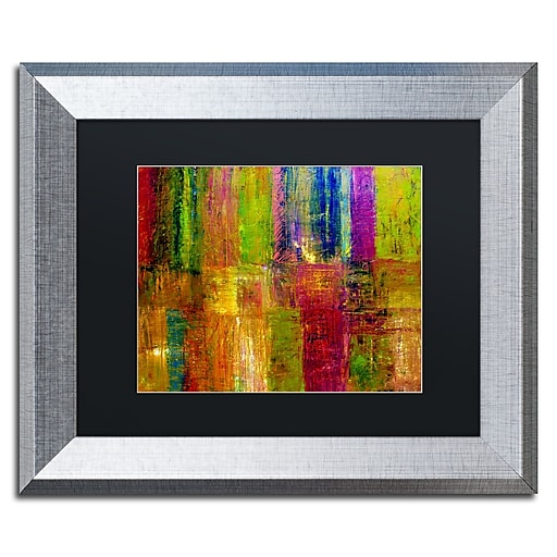"Trademark Fine Art ''Color Abstract'' by Michelle Calkins 11"" x 14"" Black Matted Silver Frame (MC017-S1114BMF)"
