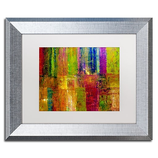 "Trademark Fine Art ''Color Abstract'' by Michelle Calkins 11"" x 14"" White Matted Silver Frame (MC017-S1114MF)"