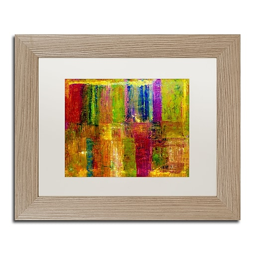 """Trademark Fine Art ''Color Abstract'' by Michelle Calkins 11"""" x 14"""" White Matted Wood Frame (MC017-T1114MF)"""