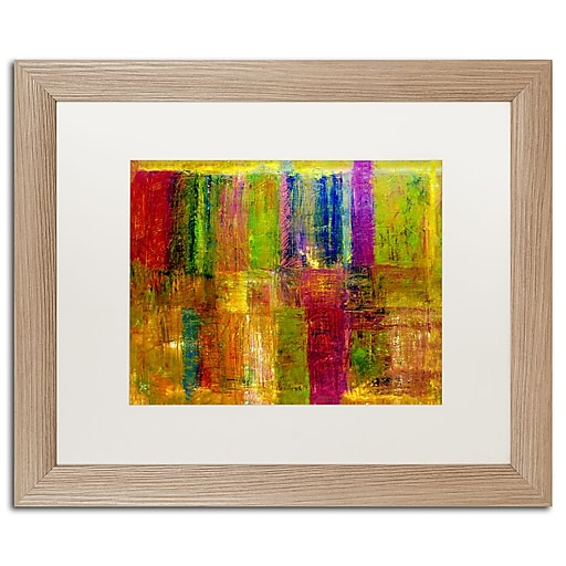 """Trademark Fine Art ''Color Abstract'' by Michelle Calkins 16"""" x 20"""" White Matted Wood Frame (MC017-T1620MF)"""