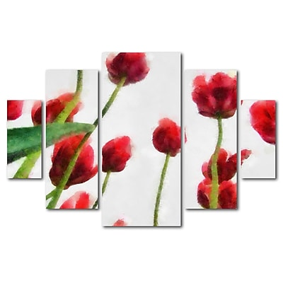 Trademark Fine Art ''Red Tulips from Bottom Up II'' by Michelle Calkins 3.3' x 4.8' Multi Panel Art Set (MC119-P5-SET)