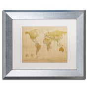 "Trademark Fine Art ''Antique World Map'' by Michael Tompsett 11"" x 14"" White Matted Silver Frame (MT0001-S1114MF)"