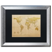 "Trademark Fine Art ''Antique World Map'' by Michael Tompsett 16"" x 20"" Black Matted Silver Frame (MT0001-S1620BMF)"