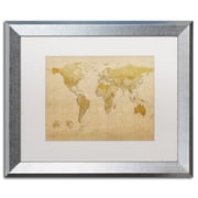 "Trademark Fine Art ''Antique World Map'' by Michael Tompsett 16"" x 20"" White Matted Silver Frame (MT0001-S1620MF)"