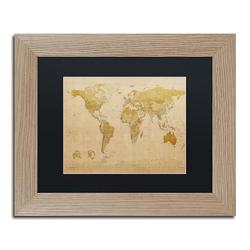 trademark fine art 39 39 antique world map 39 39 by michael tompsett 11 x 14 black matted wood frame. Black Bedroom Furniture Sets. Home Design Ideas