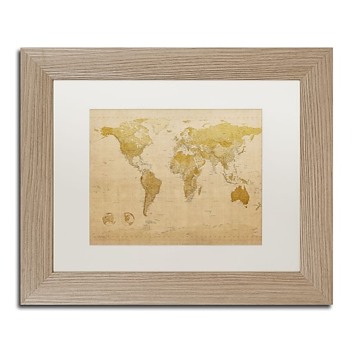 "Trademark Fine Art ''Antique World Map'' by Michael Tompsett 11"" x 14"" White Matted Wood Frame (MT0001-T1114MF)"