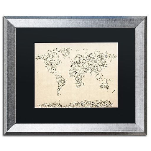 "Trademark Fine Art ''Music Note World Map'' by Michael Tompsett 16"" x 20"" Black Matted Silver Frame (MT0003-S1620BMF)"