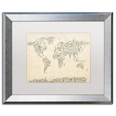 Trademark Fine Art ''Music Note World Map'' by Michael Tompsett 16
