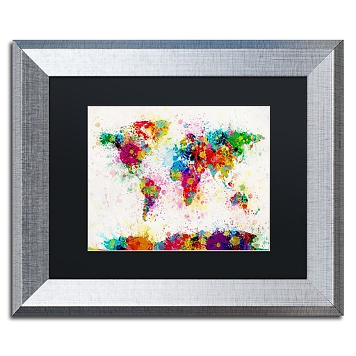 "Trademark Fine Art ''Paint Splashes World Map'' by Michael Tompsett 11"" x 14"" Black Matted Silver Frame (MT0005-S1114BMF)"